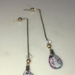 Jewelry - Murano purple stone , threader style earrings